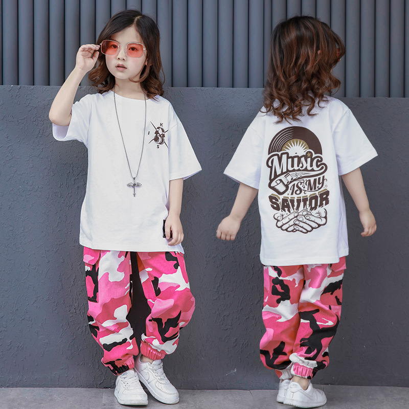 6222623db87ad White T-shirt Pink Camouflage Pants Kids Hip Hop Dance Costumes for Girls  Boys Children Jazz Hiphop Street Dance Suits Clothes