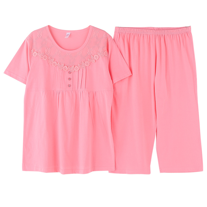 Middle-aged pajamas, summer cotton short-sleeved seven-cent trousers suit, middle-aged mothers leisure suite, half-sleeved