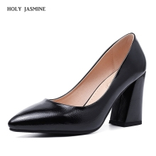 2019 Spring Women's High Heels Sexy Bride Party Mid Heel Pointed Toe Shallow Mouth High Heel Shoes Women Shoes Big Size 34-43