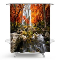 Nature Shower Curtain Green Decor Waterfall and Stream Flowing in the Forest over Mossy Rocks Tree Foliage Splash Hiking