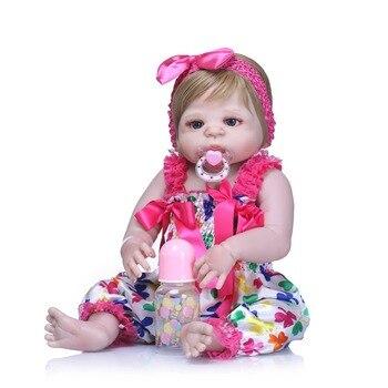 "NPKCOLLECTION 22"" Full Silicone Girl Reborn Babies Doll Bath Toy Lifelike Newborn Princess Baby Dolls Bonecas Bebe Reborn Gift"