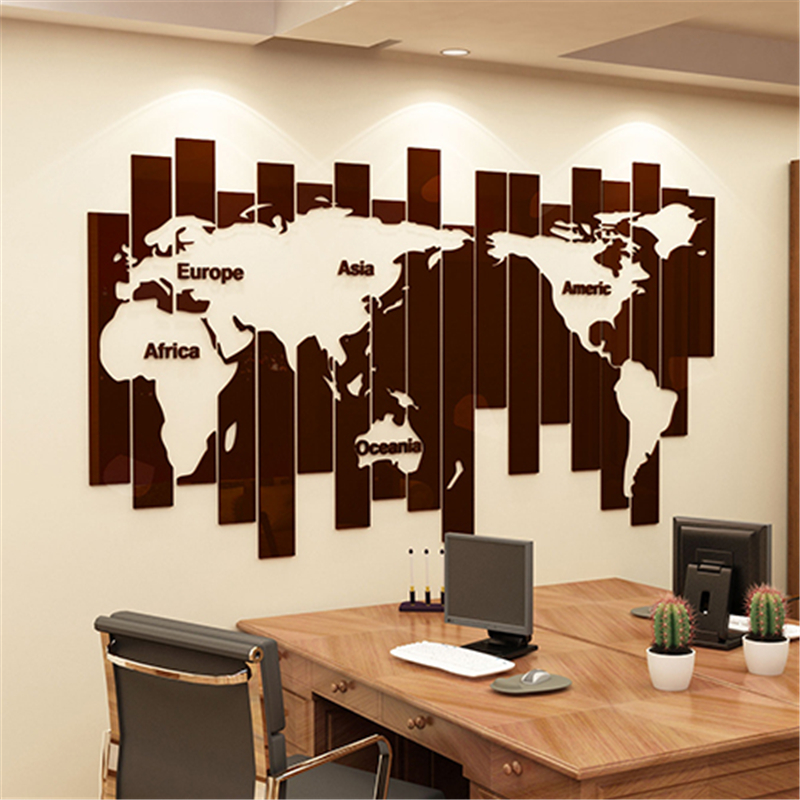 Nouveauté carte du monde bricolage créatif 3D stéréo acrylique stickers muraux moderne salon société bureau décoration mur Art autocollant
