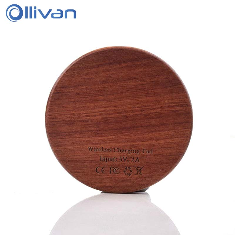 Qi Charger Wooden Nature Portable Wireless charger OLLIVAN Fast charge For Samsung Galaxy S8 Note 8 For Iphone 7 X Smartphone
