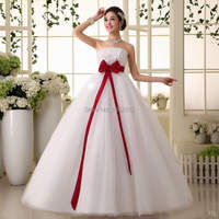 s Stock 2016 New Plus size bridal gown wedding dress bandage lacing tube top red bow satin A57