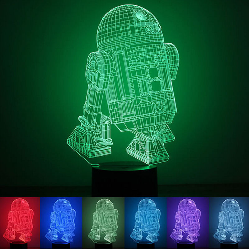 3D Illusion Lamp Star Wars 3D Led Illusion Night Light Touch Switch Table Desk Lamp Flash 7 Colors