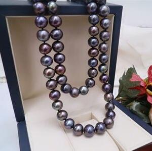 18 дюймов, Очаровательное ожерелье с натуральным tahitian черным жемчугом 9-10 мм, 18nch, серебро 925 пробы