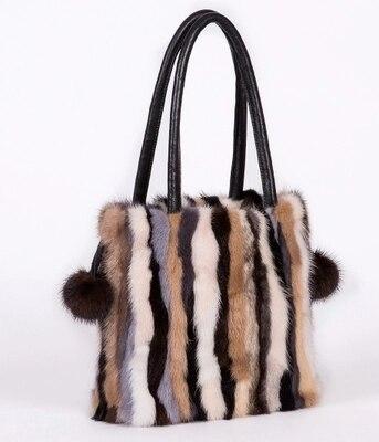 Vison fourrure sac messenger sac à bandoulière dames en cuir véritable femmes sacs à main réel de haute qualité fourrure croix-corps sacs top-poignée
