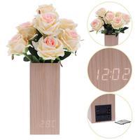 Houten Wekkers LED Digitale Timing Bloem Thermometer Temp + Datum + Tijd Elektronische Digitale Tafel Desktop Klokken