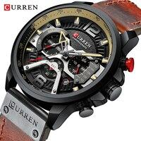 Повседневное спортивные часы мужские армейские коричневый лучший бренд класса люкс военные кожаные мужские наручные часы Мода хронограф н