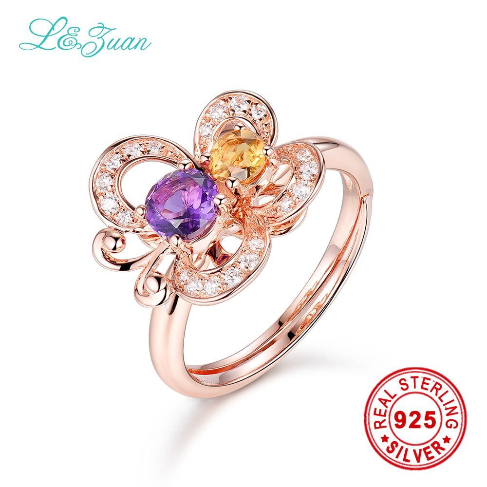 цена на l&zuan 925 sterling silver 0.495ct Amethyst Purple Stone Prong Setting Ring Jewelry for Women Gift