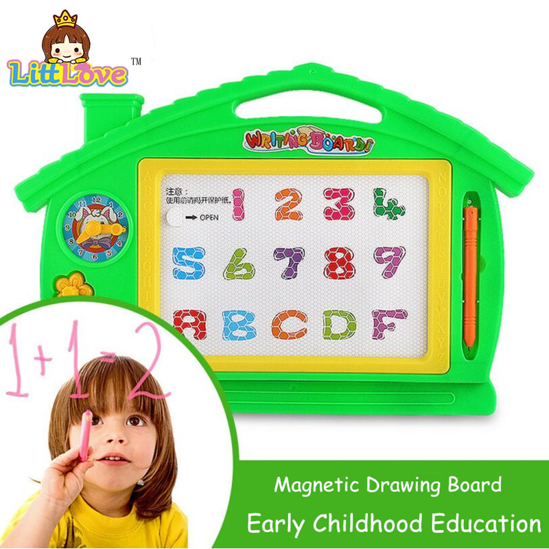 LittLove Preschool Toy Magnetic Tegnebrett Baby Kid Child Writing Board Plast Paint Pad Doodle Writing Maleri Leker