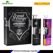 Original Airistech Headbanger dry herb Vaporizer Kit 1500mah Qcell Quartz Heat Coil Vape Pen kit for dip dab wax Concentrate kit
