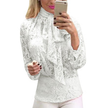 2017 Summer Womens Lace Tops Femme Long Sleeve Transparent Mesh Blouse Bow Collar Elegant Ladies Office Shirts Gothic Tunics