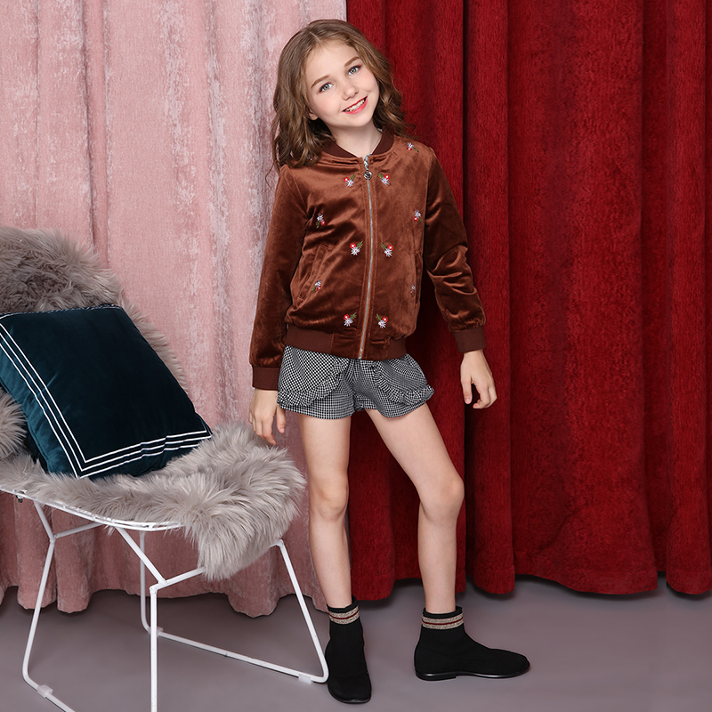 Girls' floral cardigan jackets 2018 new autumn jacket fashionable embroidered jacket.