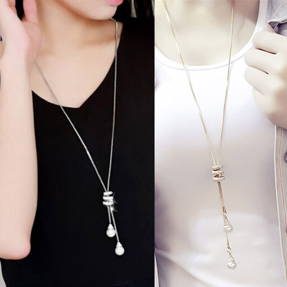 2017 HOT Simulated Pearl Crystal Long Sweater Chain