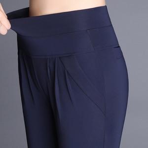 Image 2 - Plus Size High Waist Pants Women Vintage Pleated Harem Pants Loose Trousers Stretch Casual Office Pants Female Pantalon Mujer