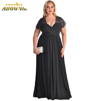2016 New Style Party Dress Black Red Lace Ruched Twist High Waist Plus Size XXXL Gown