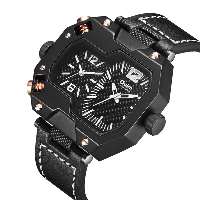 Oulm New Unique Designer Male Sport Watches Men Luxury Brand Two Time Zone Casual Genuine Leather Wristwatch Men's Quartz Watch oulm casual leather sports watches men luxury brand unique designer military watch male quartz wrist watch relojes deportivos