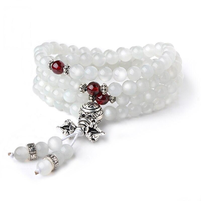 White Moonstone Bracelet Stone Beads Multi - Loop Crystal Bracelet Thai Silver Garnet Accessories Fashion Jewelry Female long yi lotus garnet bracelet bracelets jewelry beads jewelry and accessories to carry 8000437