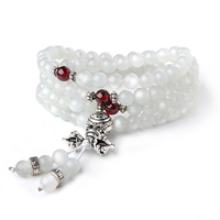 Witte Maansteen Armband Steen Kralen Multi-Loop Kristal Armband Thai Zilveren Granaat Accessoires Mode-sieraden Vrouwelijke
