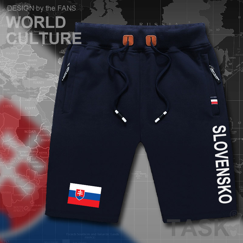 Slovak Republic Slovakia Mens Shorts Beach Man Men's Board Shorts Flag Workout Zipper Pocket Sweat Bodybuilding  SVK Slovensko