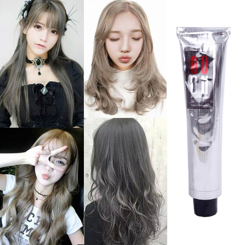 100ml Fashion Hair Cream Natural Permanent Professional DIY Dye Hairs Smoky Grey Coloring Light Gray Flaxen Style @ME88 image