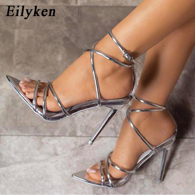 Eilyken/новые женские сандалии в римском стиле на высоком каблуке 12 см, с открытым носком, золотистого/серебристого цвета