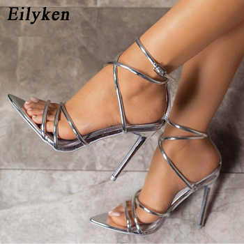 Eilyken Gold silver Summer New Roman High heel Women's Sandals Hollow high Open toe High heel 12cm Ankle Strap Sandals - DISCOUNT ITEM  37% OFF All Category