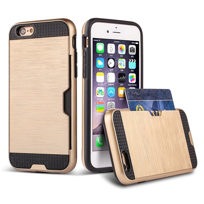 Card holder slot storage armor case for iphone 6 plus 6s 6g 6 SE 5S 5 TPU + PC brushed cvoer for samsung galaxy s7 edge s7 case