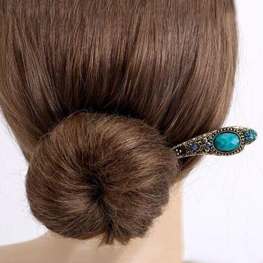 New Fashion Hair Jewelry Vintage Simple Turquoise Rhinestone Chinese Hair stick Handmade Retro Women Hair Accessorie