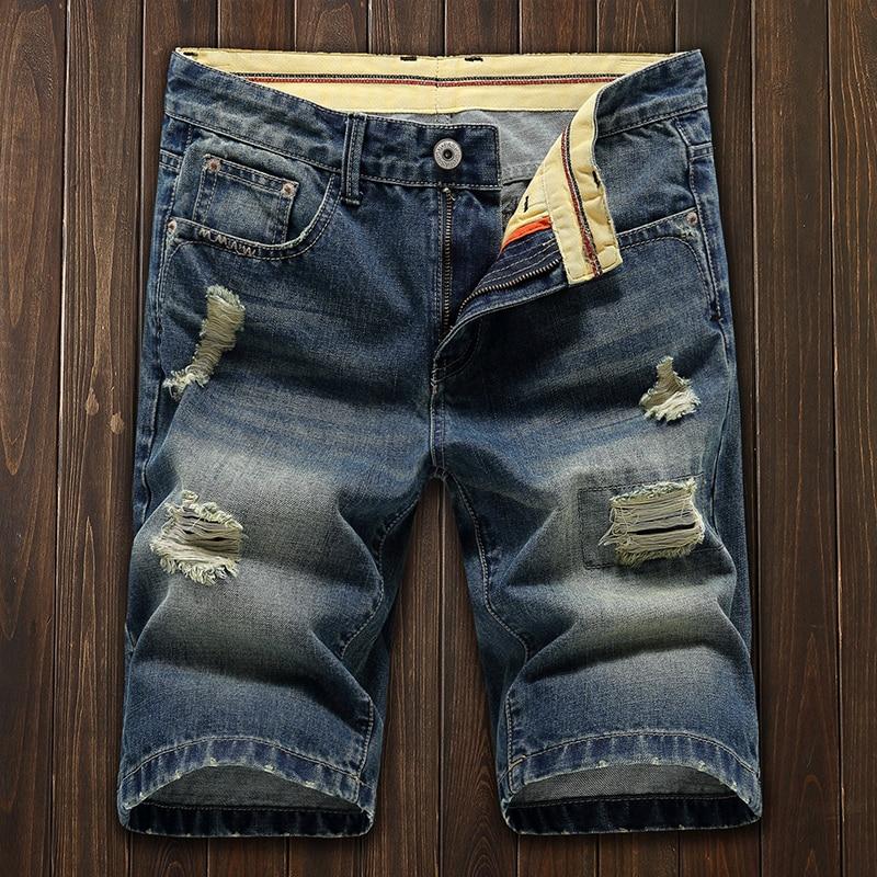 New Fashion Mens Ripped   Short   Jeans Brand Clothing Bermuda Summer 100% Cotton Breathable   Shorts   Denim   Shorts   Size 27-38