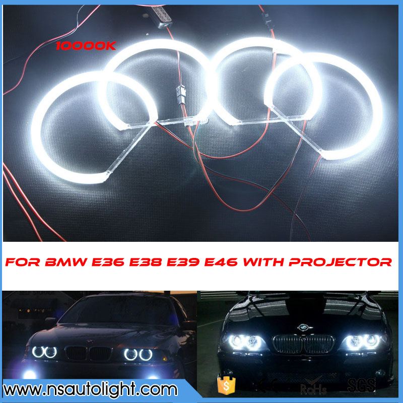 3014 SMD led angel eyes wholesale price 131mm x 4 halo rings kit best quality car daytime headlight for BMW e46 e38 e36 e39 cotton smd led angel eyes rings for bmw e38 e36 e39 e46 smd led halo rings kit for e46 with projector 4 131mm led smd angel eyes