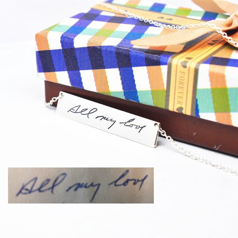 Твердые серебряные гравированные почерк бар персонализированные кулон штамп подписи памяти ювелирные изделия