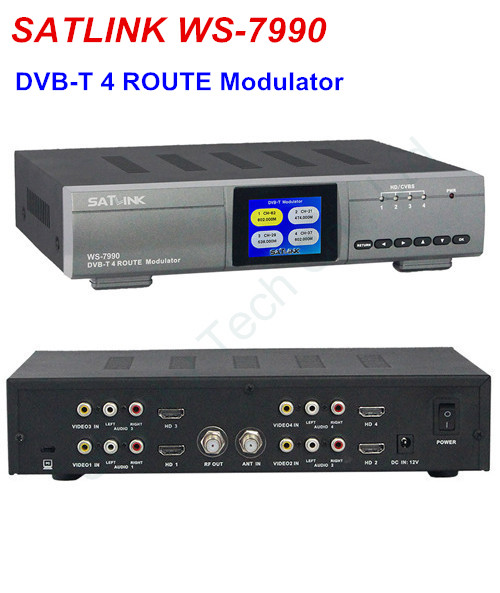 SATLINK WS-7990 Four Route HD Modulator DVB-T AV HD FULL HD 1080p Digital RF Modulator  DVB-T radeon hd 7990 в екатеринбурге