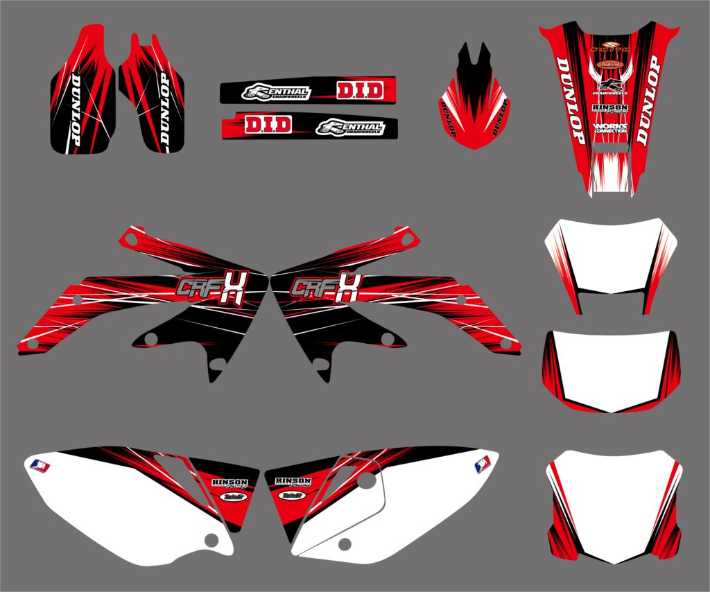 New Style Red TEAM GRAPHICS & BACKGROUNDS DECAL STICKER Kit For Honda CRF450X 4 STROKES 2005 2017 2018 CRF 450X 450 X-in Decals & Stickers from Automobiles & Motorcycles    1