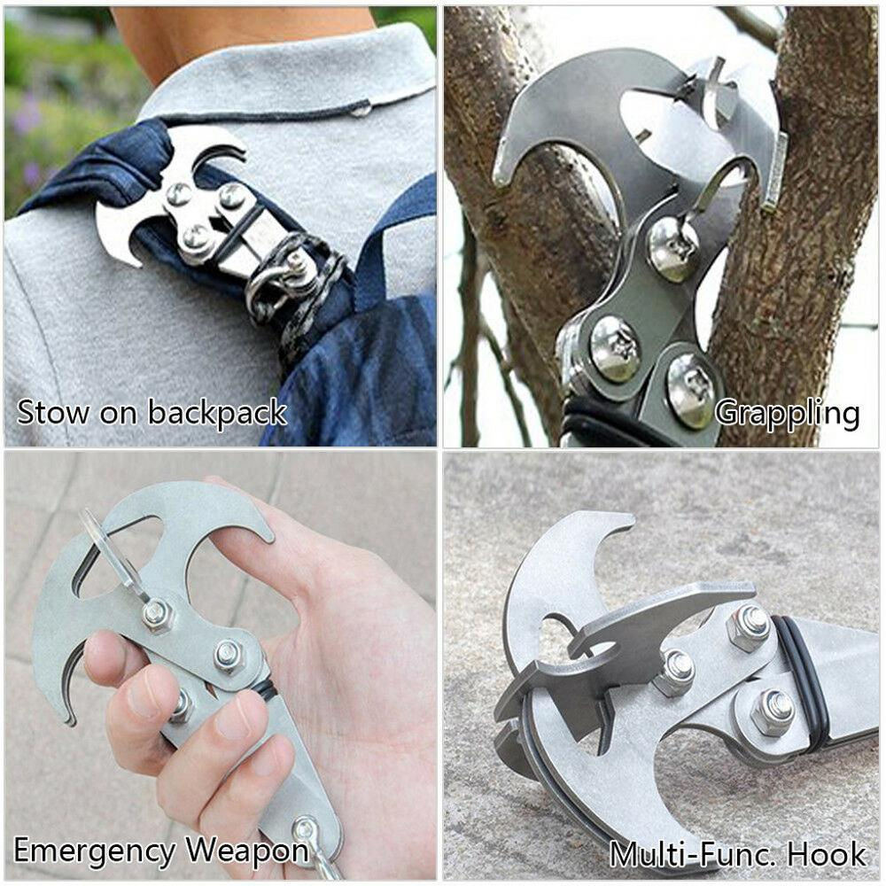 Multifunction Stainless Steel Gravity Hook Foldable Grappling Climbing Claw