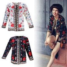 Винтажный 3/4 рукав, этнический с цветочным принтом, короткий жакет, женская тонкая куртка, верхняя одежда, S-2XL Размер