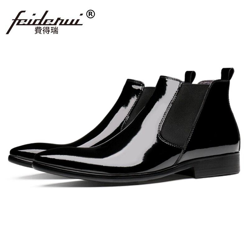 cde4327fc8aac2 Noir En Cuir Italien De Chelsea Bout Bottines Mariage Homme Cowboy Hommes  Js297 Haute Martin Design Chaussures Verni Pointu ...