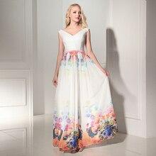 3 Designs Lager V-ausschnitt Blumenmuster Blumendruck Chiffon Abend kleid Robe De Soiree Vestido De Festa Longo kaftan 2016