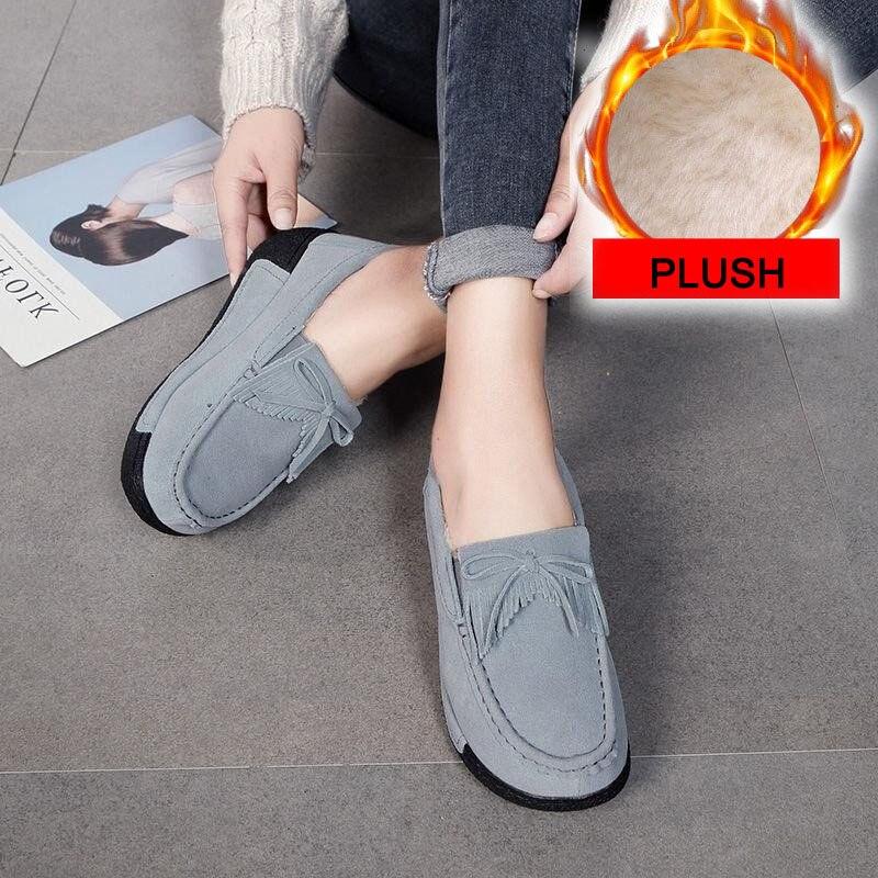 pele sapatos mulher mocassins apartamentos casuais de