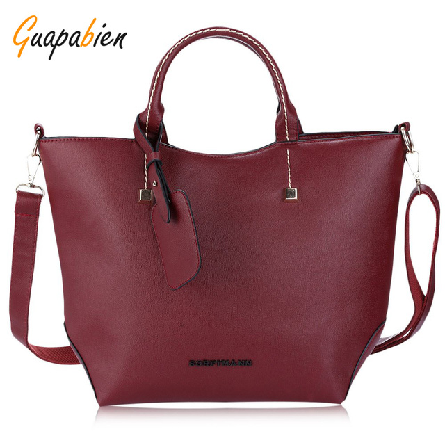 Guapabien Sexy Red Large Leather Women's Handbag Elegant Ladies Messenger Bags Sacthel Purse Crossbody Bags Tote Black Big Bag
