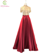 SSYFashion New High-end Evening Dress Satin Floor-length
