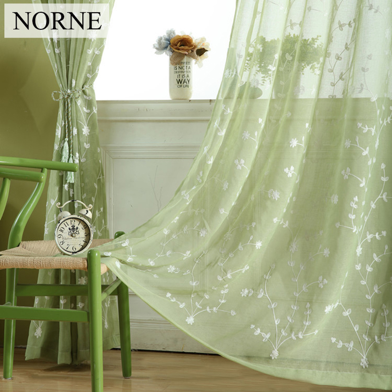 NORNE Embroidered Voiles Semi Country Stylle Sheer Curtains For Bedroom  Living Room Kitchen Door Window Curtain Drape Panels