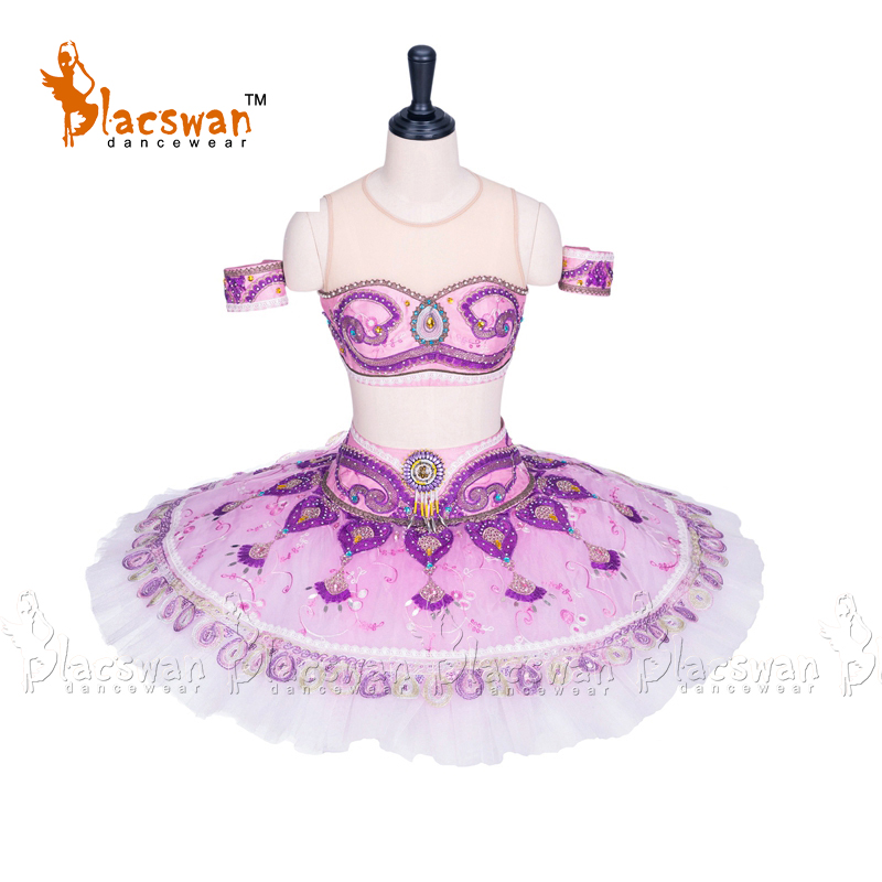 Women Professional Ballet Tutus Pink Lilac Two Pieces Performance tutu Bra Top and Skirt Adult Professional