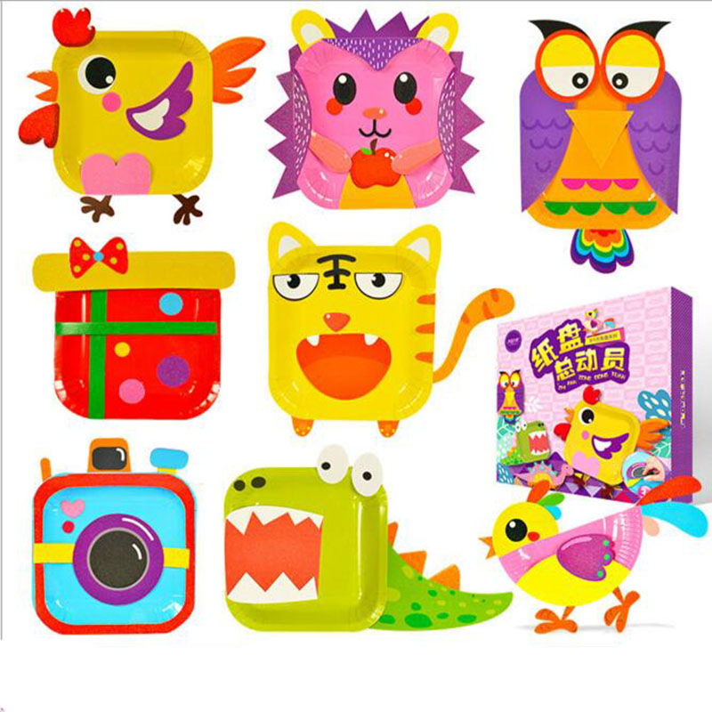 12 Patterns Kids Rainbow Paper Plates DIY Handmade Toys For Painting And Sticker Cartoon Animals Paper Plate Learning Toy