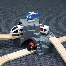 พลาสติกสีเทาคู่อุโมงค์รถไฟไม้อุปกรณ์เสริมอุโมงค์รถไฟ Slot ไม้รถไฟของเล่น bloques de construccion