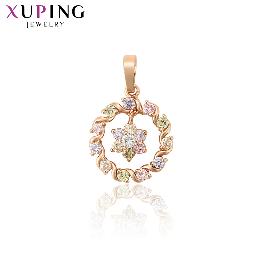 11.11 Deals Xuping Jewelry Colorful Wild Style Necklace Pendant With Synthetic CZ for Women Girls New Years Day Gifts 34239