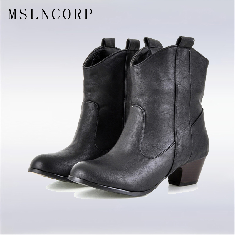 Tallas grandes 34-45 Vintage Mujer Med Hoof Heels Botines Botas de - Zapatos de mujer