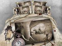Ropa de cama 3d edredón tamaño reina colcha sábanas juego doble tamaño completo tejido 500TC elefante animales adultos dormitorio
