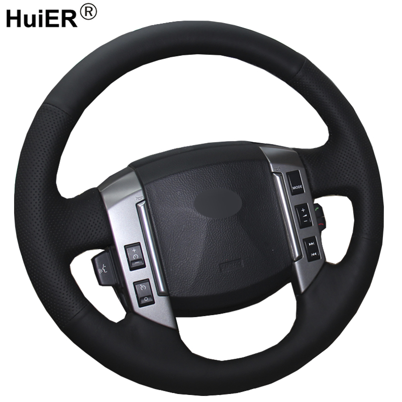 HuiER Hand Sewing Car Steering Wheel Cover Black Leather For Land Rover Discovery 3 2004-2009 Steering-wheel Auto Accessorie